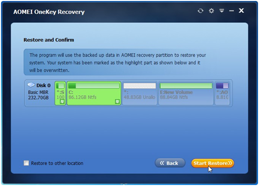 AOMEI OneKey Recovery- Perfect Tool to Restore System after