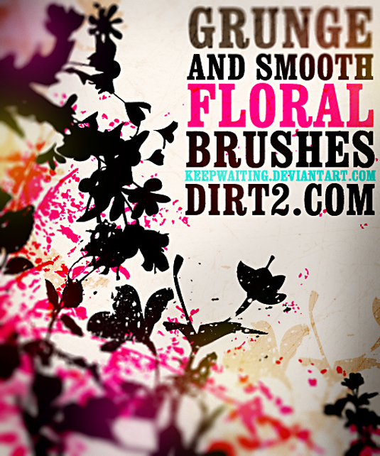 21Grunge and smooth floral brushes