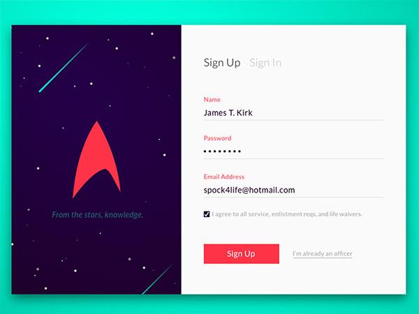 Starfleet Sign Up- sign up form