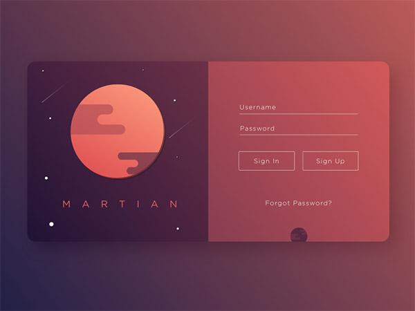 Martian- sign up form