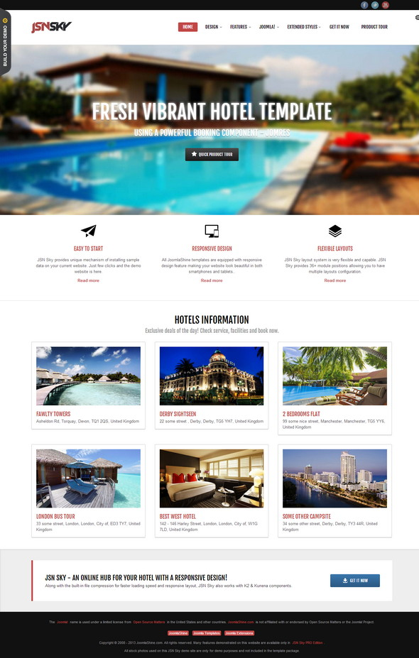 40 awesome free responsive joomla templates 2015 for Joomla hotel template