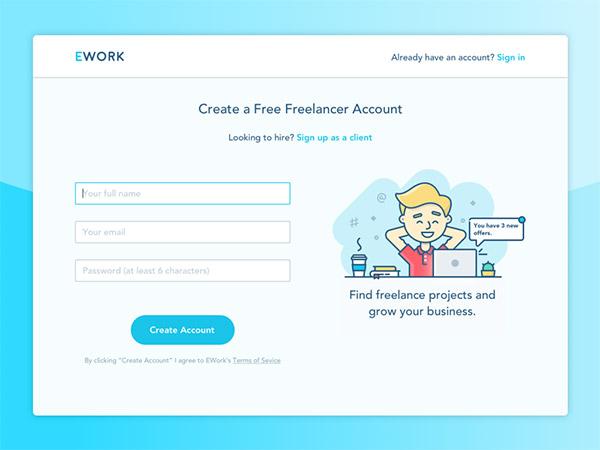 Freelance Website- sign up form