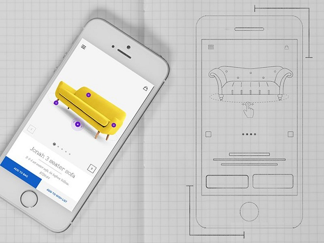 Furniture App Product Page Sketch-Mobile App Wireframe