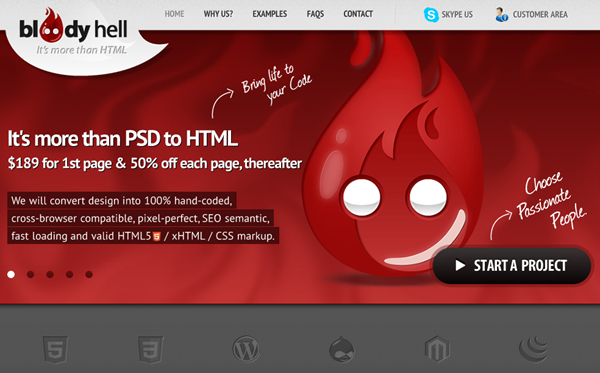 Bloody-hell-PSD To HTML Service Provider - Designdrizzle
