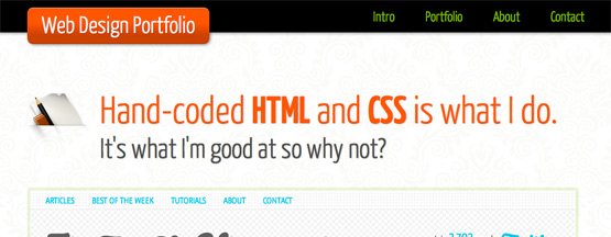 9. One Page Portfolio with HTML5 and CSS3