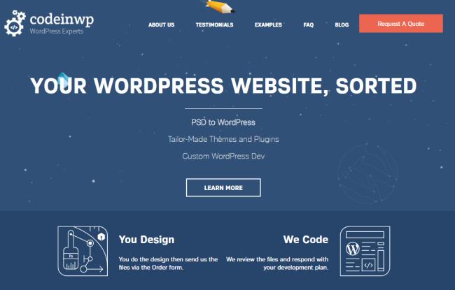 CodeinWP- PSD to WordPress Company