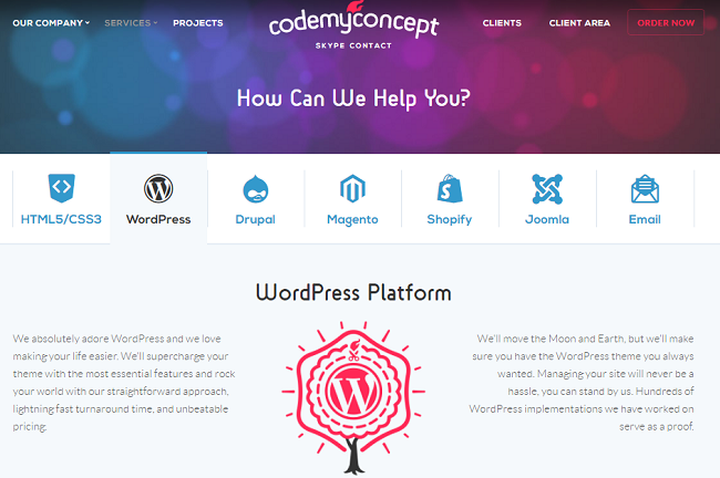 CodemyConcept- PSD to WordPress Company