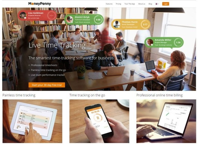 MoneyPenny Live Time Tracker