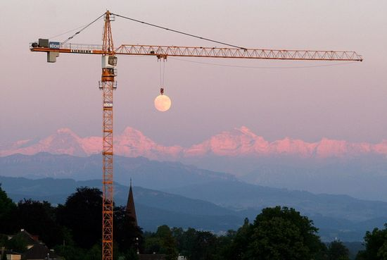 Moon looks to be hooked by a crane