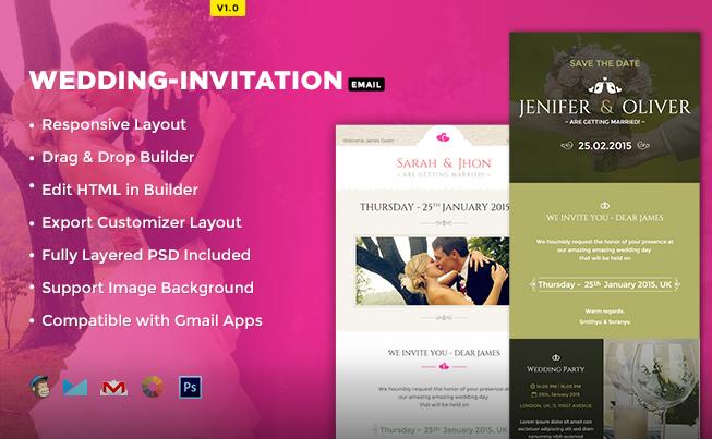 Trending HTML Email Newsletter Template - Wedding newsletter template